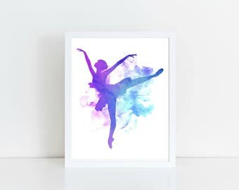 Dance Print, Ballerina Wall Art, Girls Decor, Printable, Instant Download, 8x10, 11x14