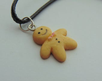Cute Chubby Gingerbread Man Charm Necklace