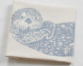 Otter Tea Towel - Kitchen Towel - Flour Sack Towel - Cotton Dishcloth - Animal Tea Towels - Woodland Animals - Tea Towels - Sea Otter Towel