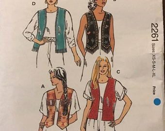 Kwik Sew 2261 - Open Front Vest with Straight or Weskit Hem and Fringe Option - Size XS S M L XL