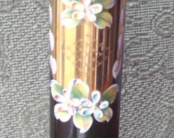 1950's(Pre?)Poss.MOSER exquisite and ornately HAND-PAINTED & gilt/(gold-painted) Czech/Bohemian green glass flower bud vase- excellent cond.