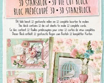 Studio Light Romantic Vintage 3D die cut block, Card making paper craft kit to make 12 complete cards