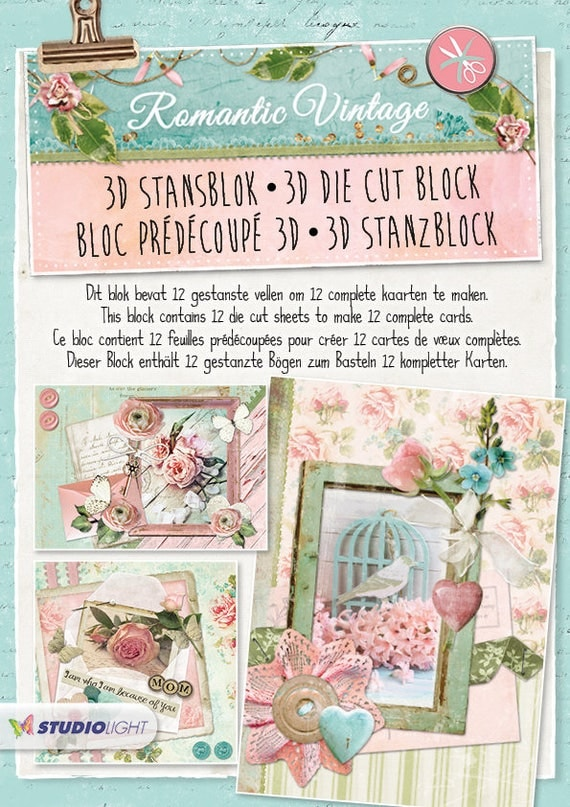 Romantic vintage die cut block