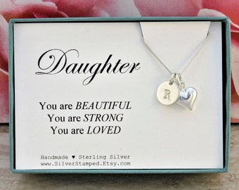 Daughter necklace gift for daughter necklace, sterling silver, heart and initial charm, You are Loved, birthday gift, graduation gift box