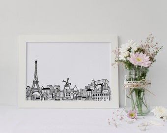 Paris Skyline Art Print | Paris Skyline Drawing | Eiffel Tower | Gift | 5x7 or 8x10