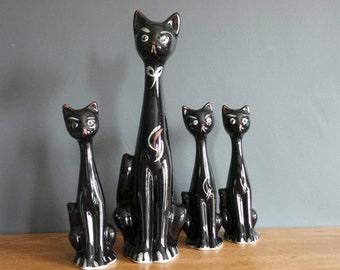 Vintage cat figurine vase - midcentury longnecks