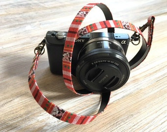 Minimalist Camera Strap - Aztec Design DSLR Strap - Limited Edition Red Camera Strap - Photography and Camera Geeks