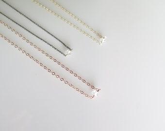 Tiny Herkimer Diamond Necklace • Rose Gold Diamond Necklace •  Gold Diamond Necklace • Delicate Herkimer Diamond • Silver Diamond Necklace