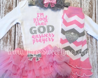 Baby Girl Outfit | I'm Proof That God Answers Prayers | I Am Gods Answered Prayer | Gods Gift Bodysuit | Adoption Day Outfit | Pink Silver