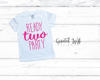 2nd birthday shirt, 2nd birthday party shirt, Ready two party, 2nd birthday, 2nd birthday t-shirt, two much, girls birthday shirt