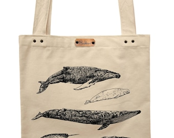 Whales  - hand printed cotton tote bag