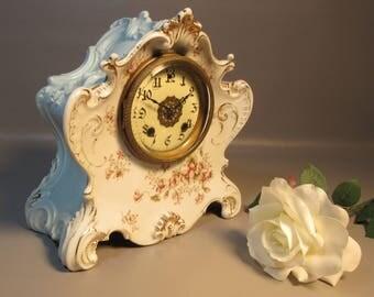 Antique c1895 Non-Working Silesien German Porcelain Parlor Mantle Clock Gorgeous