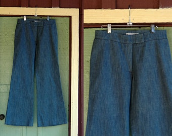 1970s Blue Denim Wide Leg Jeans with Flare // Vintage 70s Retro Euro Flared Bell Bottom Jeans