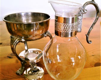 Vintage Clear Glass Coffee Carafe With Silverplate Collar, Lid And Warming Stand