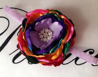 Rainbow Flower Headband. Newborns-Toddlers. Oversized Flower 4 inches.