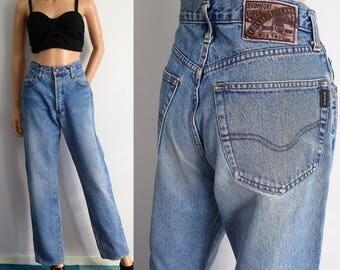 High waisted jeans, mom pants, stonewash blue distressed denim, vintage retro trousers, straight leg, medium, waist 29