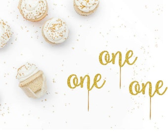 Set of 6 One Cupcake Toppers - Age Cupcake Toppers - Birthday Party Decorations - Cupcake Toppers - First Birthday Decor