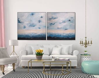 Large Painting Abstract Art Original Wall Canvas White And Blue Coastal Living Room