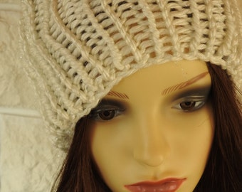 Hand Knitted Woman's White Shimmery Winter Hat With A White Pompom - Free Shipping