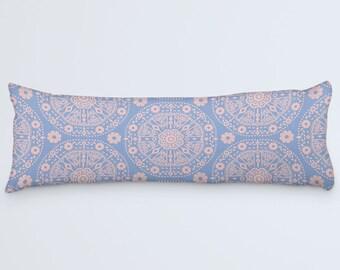 Blue Body Pillow, Blue Pink Boho Pillow, Body Pillow Cover, Bohemian Bed Pillow, Serenity Rose Pillow, Body Pillow Case, 20x54 Body Pillow