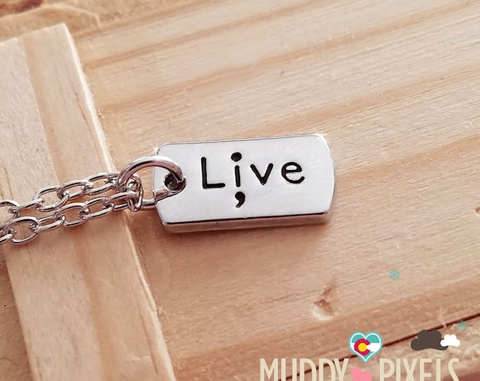 Tiny Semicolon Stamped Awareness Dog Tag Necklace - Pause Depression Mental Health