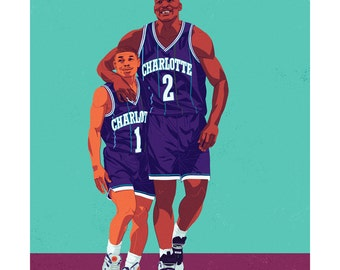 Muggsy Bogues and Larry Johnson