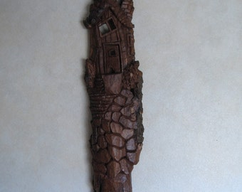 hand carved, Cottonwood Bark, Whimsical house wall hanging, wood carving