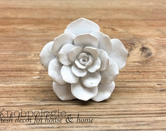 White Distressed Rose Resin Knob - Large White Flower Drawer Pull - Decorative Knob - Upcycling Home Decor