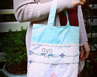 Upcycled Vintage Bag, Floral Bag, Tote Bag, Library Bag, Market Bag, Embroidered Flowers, Vintage Linens, Shabby Chic, Gifts for Women