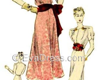 1944 Day or Evening Gown EvaDress Pattern!