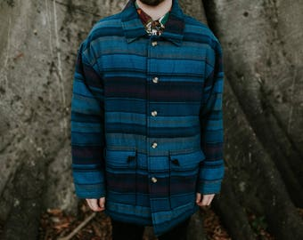 M/L Padded Single Breasted Blue Striped Coat