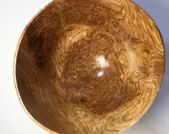 Large Handmade Wooden Bowl - Black Ash Burlwood - Thin-Turned