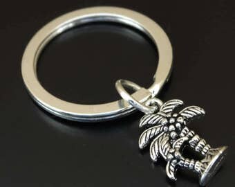 Palm Tree Keychain, Custom Keychain, Custom Key Ring, Palm Tree Key Chain, Palm Tree Charm, Palm Tree Pendant, Beach Keychain, Vacation Gift