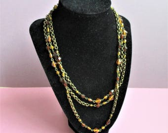 "Triple Wrap Glass Beaded 60"" Flapper Necklace Vintage Art Deco Long Wrap Rolo Link Burnished Bronze Glass Beads Costume Jewelry Accessory"