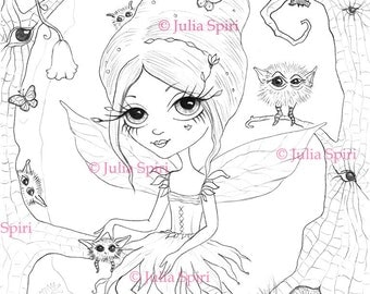 Digital stamps, Digi, Fairy, Critters, Big Eyes, Trees, Fantasy, Whimsical, Creatures, Coloring pages, Crafting, Cardmaking. I'm wathing you