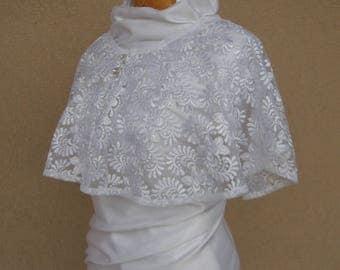 White Wedding Cape, Bridal Cape,  Lace Wedding Wrap, Bridal Cover Up, Wedding Capelet, Wedding Cover Up, Bridal Capelet, Cape Mariage