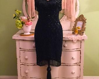 Fringe Beaded Dress, Black Party Dress, Formal Evening Dress, S-SM, Black Strapless Dress, Hourglass Dress, Elegant Dress, Bombshell Dress