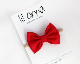 Baby Red Headband - Baby Headband - Red Bow Headband - Baby Girl Hair Bow - Newborn Headband - Red Baby Headband - Nylon Headband