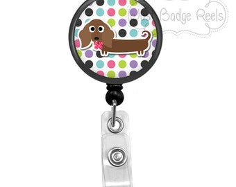 Badge Holder - Dachshund Badge Reel - Dachshund Badge Holder - Retractable Badge Reel -  Dog Badge Holder - Polka Dot Badge Holder  - 1045