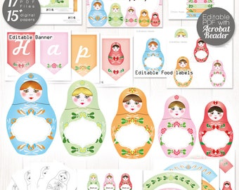 Matryoshka party printable, Nesting dolls party, Matryoshka decor, Editable party for nesting doll Baby shower, matryoshka Birthday party