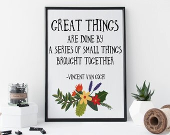 Bohemian Wall Art Vincent van Gogh Quote Print 'Great Things' Bohemian Wall Decor Flower Wreath Poster Inspirational Quote