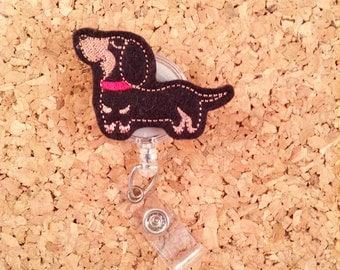 Dog Badge Reel, DACHSHUND ID Badge Reel, Felt Badge Reel, Retractable ID Name Holder, Nurse Badge Reel,  Teacher Gift, 601