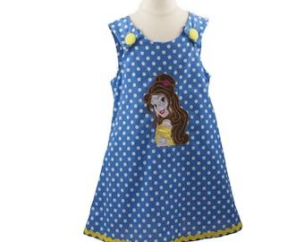 Girl dress  Belle  girl dress applique A line dress, girl A line dress  Belle dress, birthday outfit, toddler dress,Girls Dress