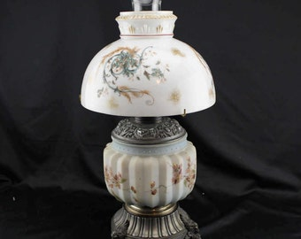 1890,s Antique Oil Lamp Hurricane Lamp Climax Burner Floral Shade