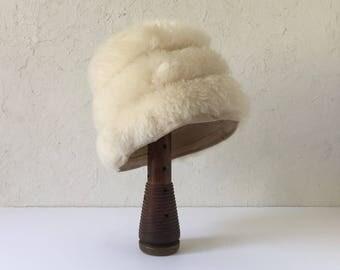 Mid Century Hat, Vintage Italian Fur Cossock, Ladies Fur Hat