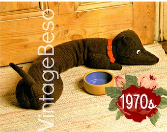 Door Draft Stopper Knitting PATTERN Vintage Dachshund Knit Pattern Dog Draught Excluder prevent cold winds VintageBeso Instant Download PDF