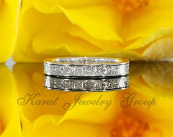 Eternity Square Cut Diamond Channel Set Wedding Band, Princess Cut Diamonds Ring in 14k White Gold (avail yellow, rose gold and platinum)