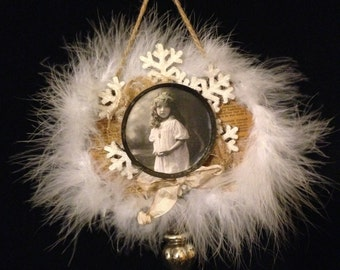 Cottage Chic Christmas Tree Decoration~ Victorian Style Ornament, White Feathers, Vintage Girl Photo, Snowflake, Mercury Glass, Old Hymnal