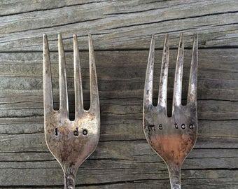 I Do Me Too Wedding Forks, Vintage Wedding Forks, Vintage Dessert Forks