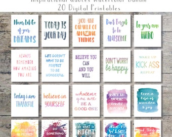 Inspirational Quotes Watercolor Art Bundle - Set of 20 Printables - Wall Art - Office Decor {Instant Digital Download - 8x10 AND 5x7}
